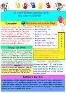All About Children Learning Center - May 2018 Newsletter